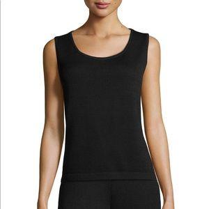 ST. JOHN | Basics Black Ribbed Knit Tank Top Small